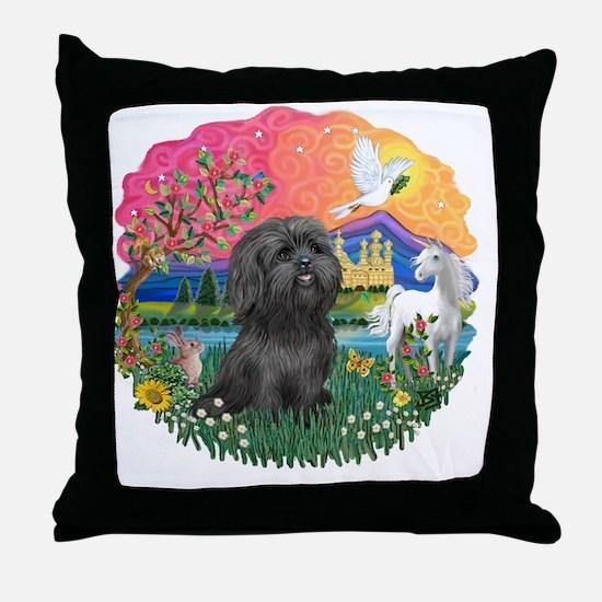 FantasyLane-BlackShihTzu Throw Pillow