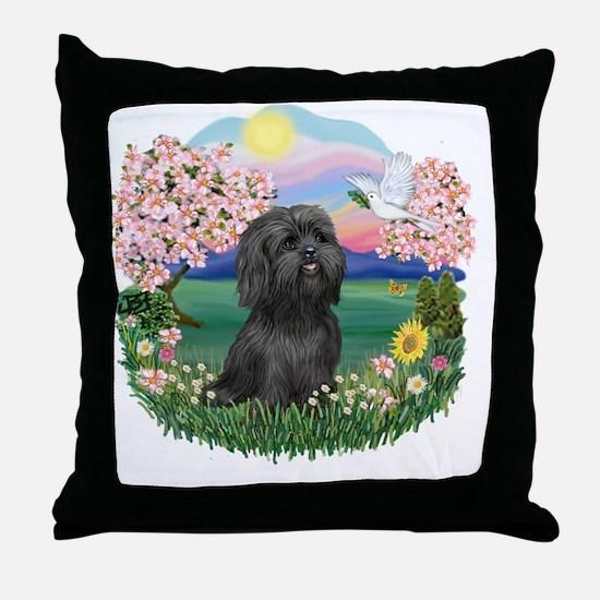 Blossoms-Black Shih Tzu Throw Pillow