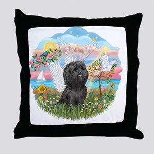 AngelStar-BlackShihTzu Throw Pillow