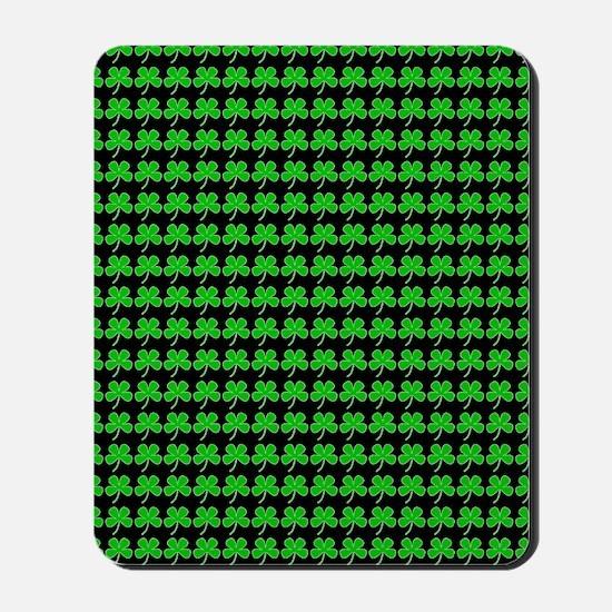 Green Shamrocks St. Patricks Day Black Mousepad