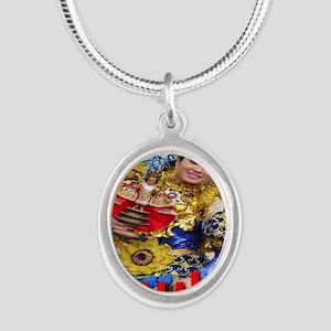 sinulog_cebu_philippines Silver Oval Necklace