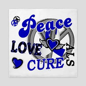 D ALS Peace Love Cure 2 Queen Duvet