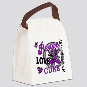 D Alzheimers Peace Love Cure 2 Canvas Lunch Bag