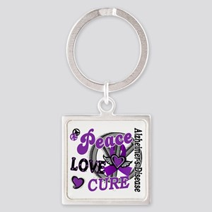 D Alzheimers Peace Love Cure 2 Square Keychain