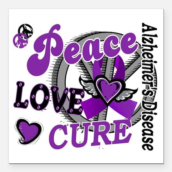 "D Alzheimers Peace Love  Square Car Magnet 3"" x 3"""