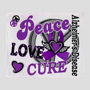 D Alzheimers Peace Love Cure 2 Throw Blanket