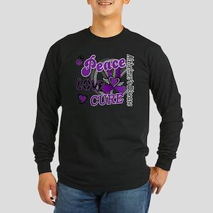 D Alzheimers Peace Love C Long Sleeve Dark T-Shirt