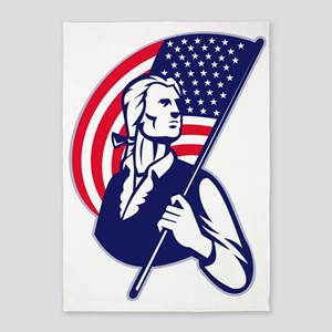 Patriot Minuteman With American Sta 5'x7'Area Rug