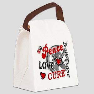 D Brain Cancer Peace Love Cure 2 Canvas Lunch Bag