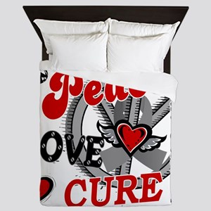 D Brain Cancer Peace Love Cure 2 Queen Duvet