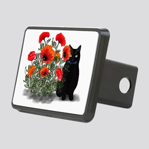 Black Cat with Poppies Rectangular Hitch Cover