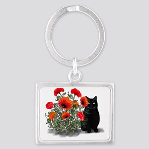Black Cat with Poppies Landscape Keychain