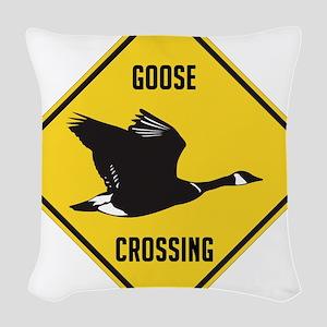 crossing-sign-canada-goose-sol Woven Throw Pillow