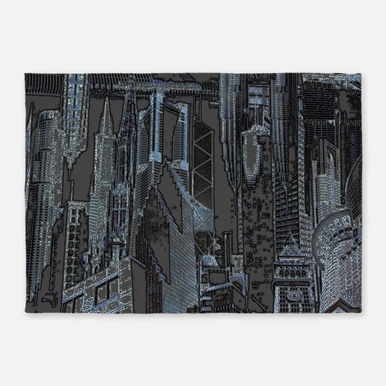 Buildings 5'x7'Area Rug