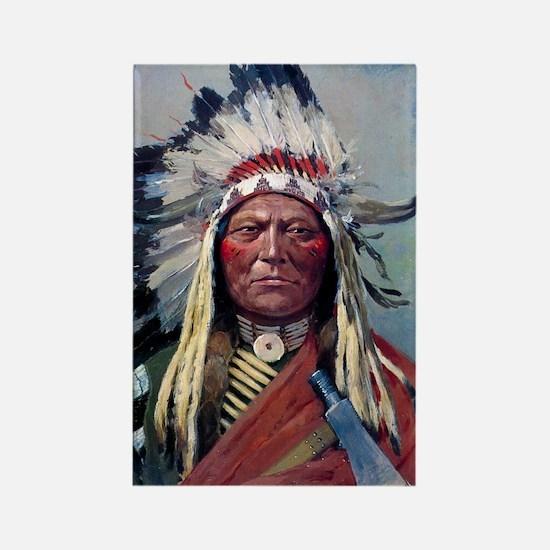 Sitting Bull, 1899, oil on canvas Rectangle Magnet