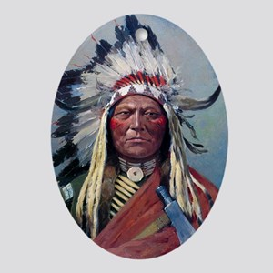 Sitting Bull, 1899, oil on canvas Oval Ornament
