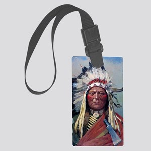 Sitting Bull, 1899, oil on canva Large Luggage Tag