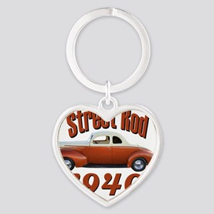 40 ford rod copper Heart Keychain