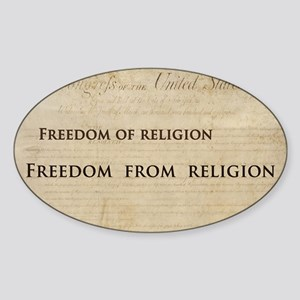 12x20_car magnet - Freedom of relig Sticker (Oval)