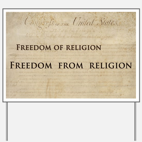 12x20_car magnet - Freedom of religion f Yard Sign