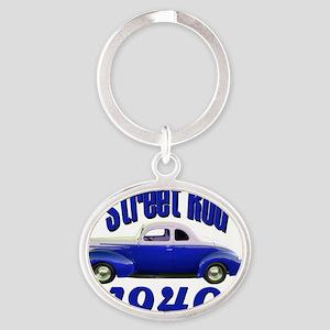 40 ford rod dark blue Oval Keychain