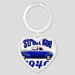 40 ford rod dark blue Heart Keychain