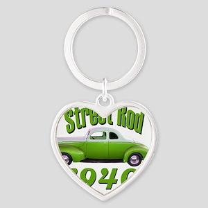 40 ford rod green Heart Keychain