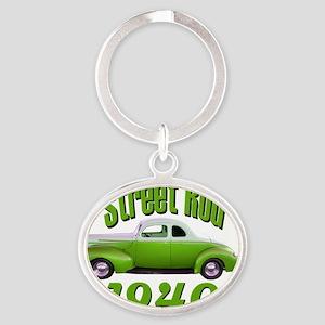 40 ford rod green Oval Keychain