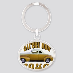 40 ford rod gold Oval Keychain