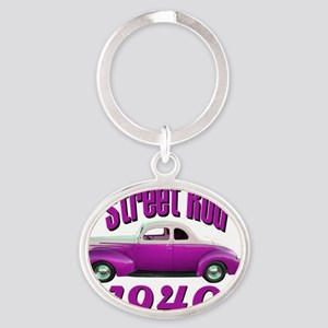 40 ford rod pink Oval Keychain