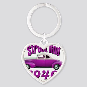 40 ford rod pink Heart Keychain