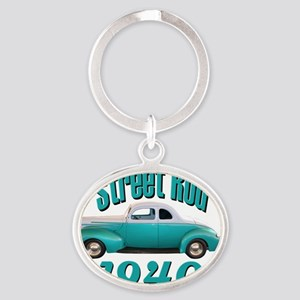 40 ford rod light blue Oval Keychain