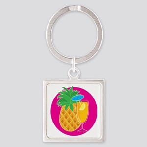 Pineapple Cocktail Square Keychain