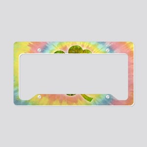 clover-tiedye-OV License Plate Holder