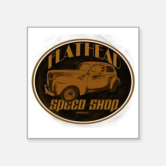 "flathead speed shop Square Sticker 3"" x 3"""
