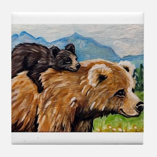 Cute Momma and cub Tile Coaster