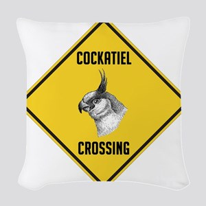 crossing-sign-cockatiel Woven Throw Pillow