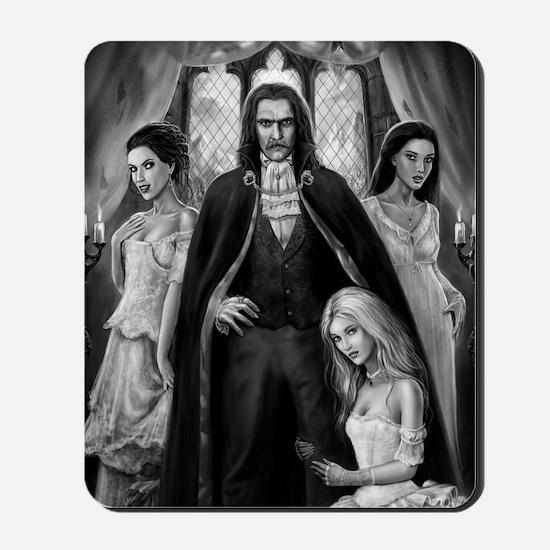 dracula and his ladies square Mousepad
