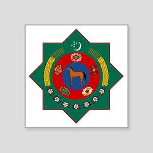 "Turkmenistan Coat of Arms Square Sticker 3"" x 3"""