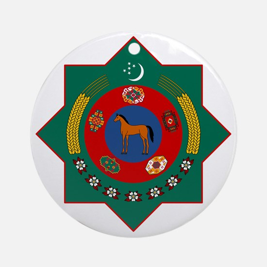 Turkmenistan Coat of Arms Round Ornament