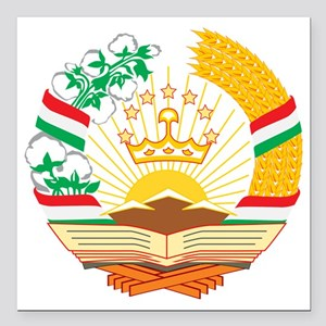 "Tajikistan Coat of Arms Square Car Magnet 3"" x 3"""