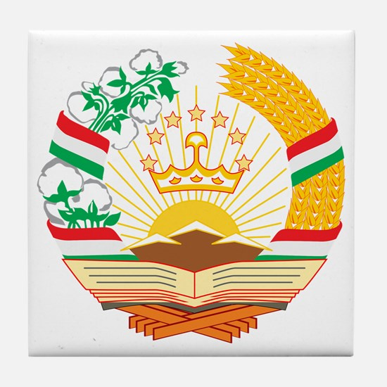 Tajikistan Coat of Arms Tile Coaster