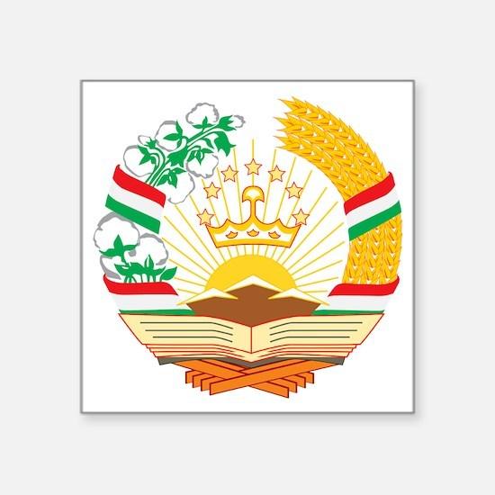 "Tajikistan Coat of Arms Square Sticker 3"" x 3"""