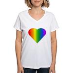 Gay Pride Rainbow Love Women's V-Neck T-Shirt