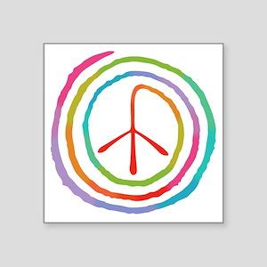 """spiral-peace2-T Square Sticker 3"""" x 3"""""""