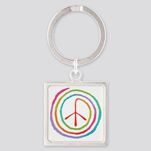 spiral-peace2-T Square Keychain