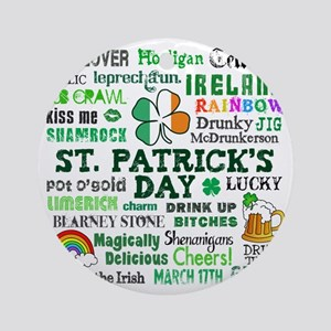 St Patricks Round Ornament