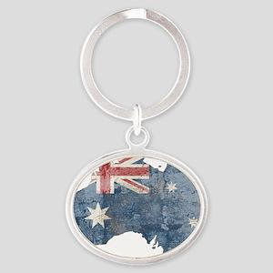 vintageAustralia7 Oval Keychain