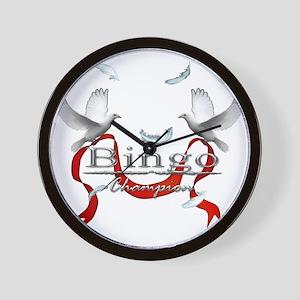 Bingo Champion White Doves Ribbon Textu Wall Clock