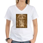 Shroud of Turin Women's V-Neck T-Shirt